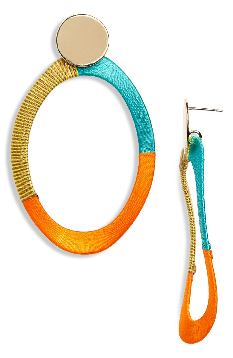 BP. Thread Wrapped Drop Earrings, Main, color, ORANGE- TURQ- GOLD