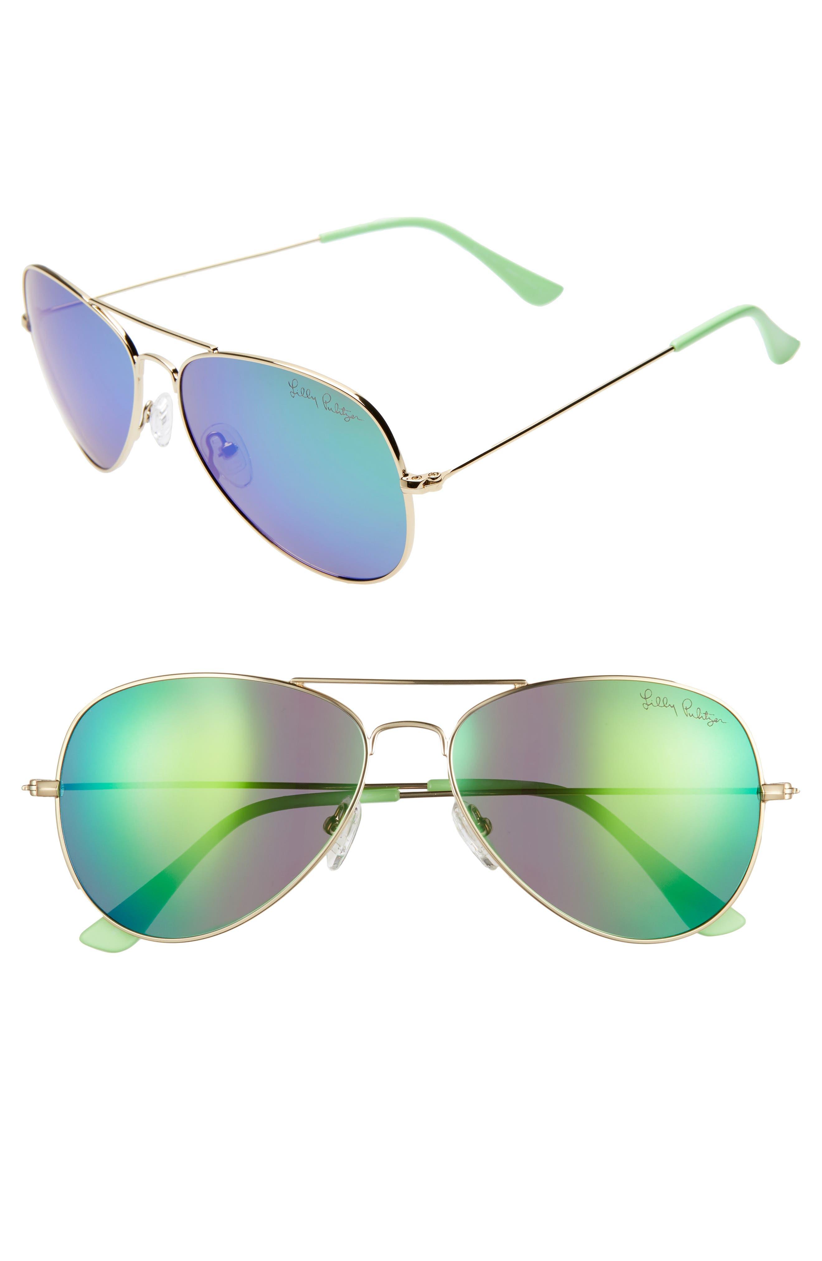 Lilly Pulitzer Lexy 5m Polarized Aviator Sunglasses - Shiny Gold/ Green Mirror