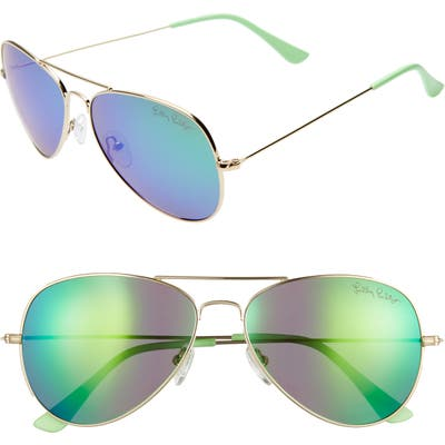 Lilly Pulitzer Lexy 5m Polarized Aviator Sunglasses - Shiny Gold/ Green Mirror