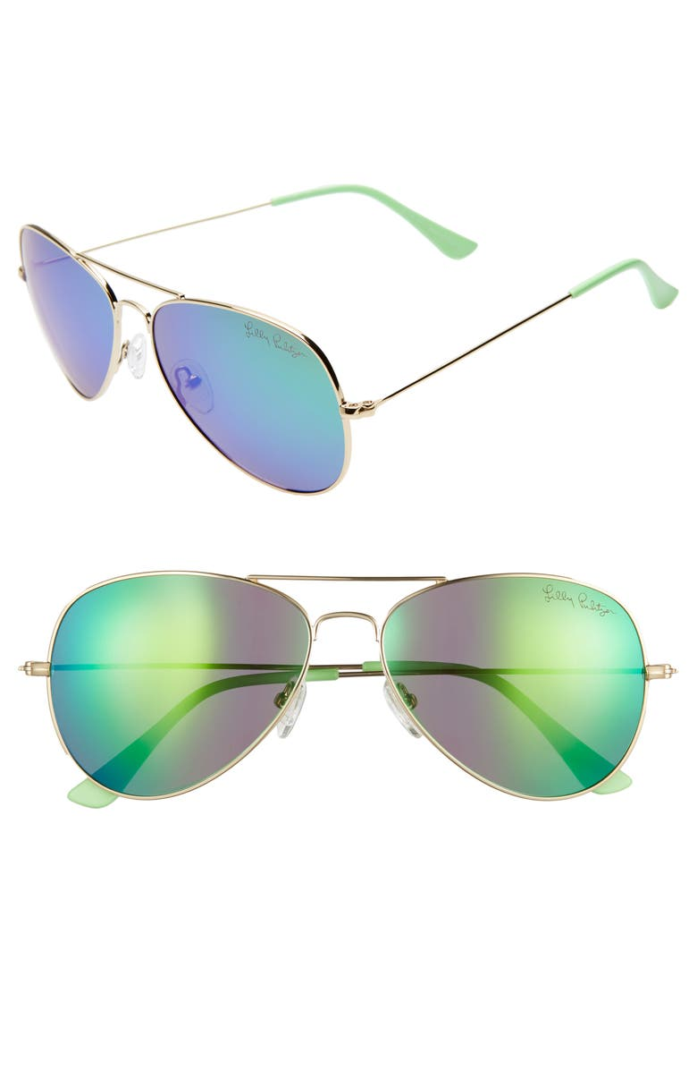 LILLY PULITZER<SUP>®</SUP> Lexy 59mm Polarized Aviator Sunglasses, Main, color, SHINY GOLD/ GREEN MIRROR