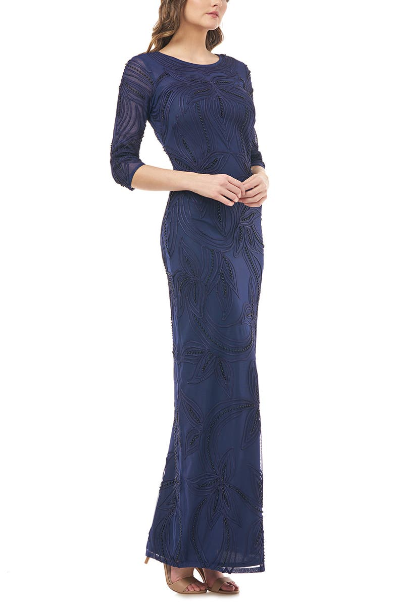 JS COLLECTIONS Pearl Beaded Soutache Column Gown, Main, color, NAVY