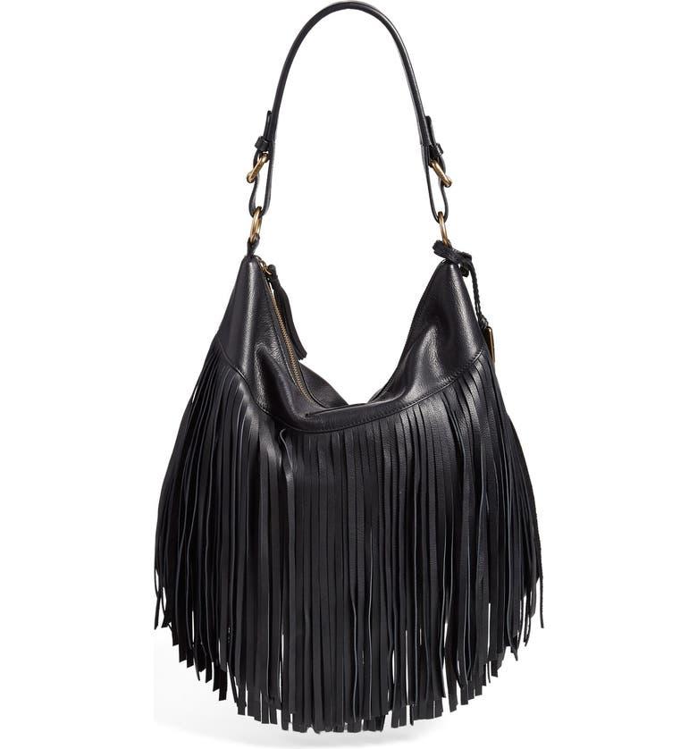 FRYE 'Heidi' Fringe Hobo Bag, Main, color, 001