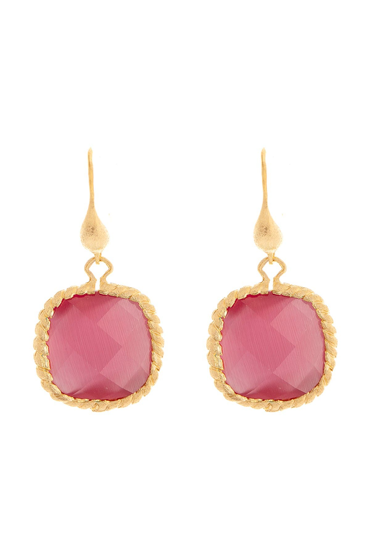Image of Rivka Friedman 18K Gold Clad Twisted Cable Raspberry Cat's Eye Crystal Dangle Earrings