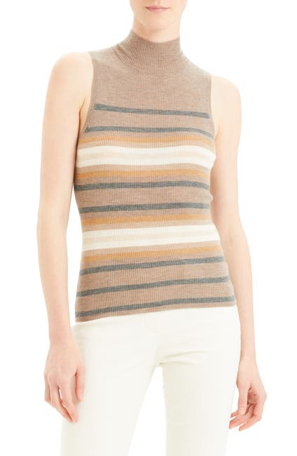 Image of Theory Regal Stripe Ribbed Sleeveless Cashmere Sweater
