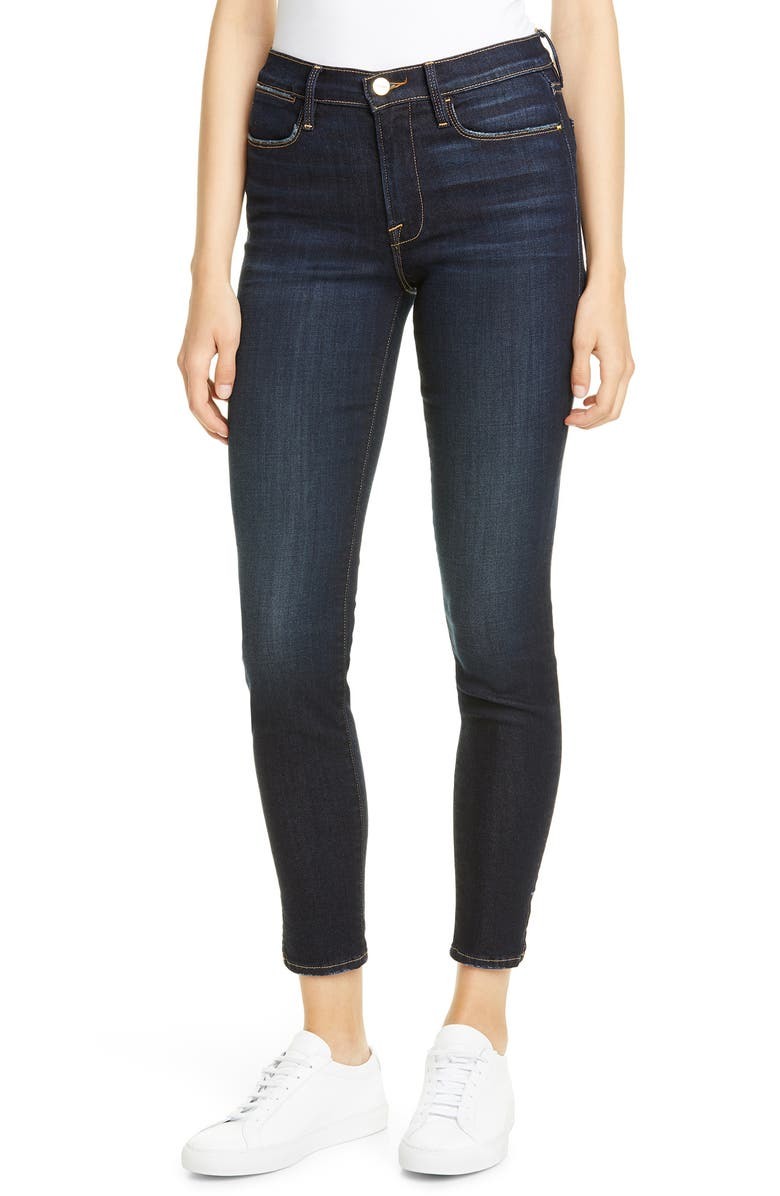 FRAME Le High Slit Hem Ankle Skinny Jeans, Main, color, COPA