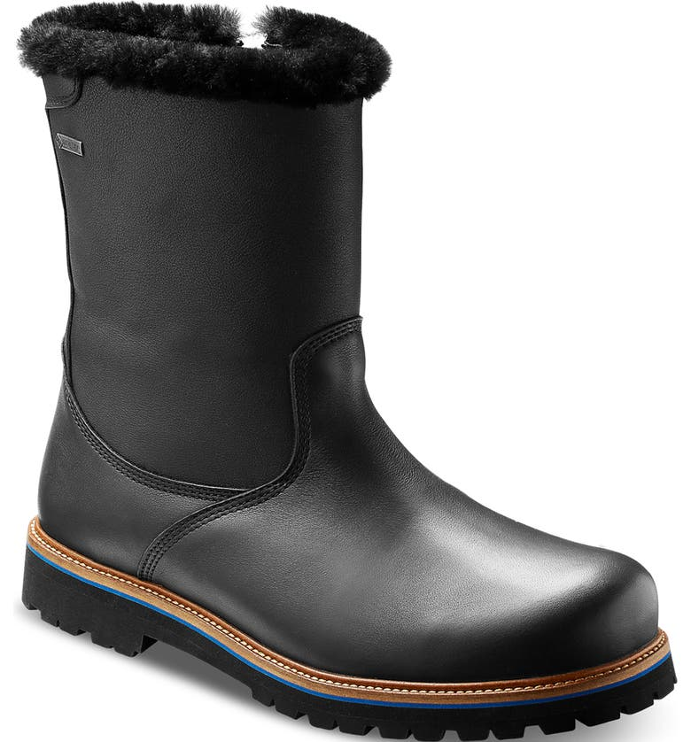 SAMUEL HUBBARD Snow Lodge Waterproof Gore-Tex<sup>®</sup> Genuine Shearling Lined Boot, Main, color, BLACK LEATHER