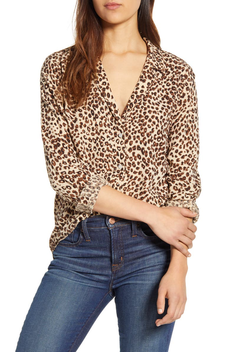 LUCKY BRAND Leopard Print Oversize Button Front Shirt, Main, color, TAN MULTI