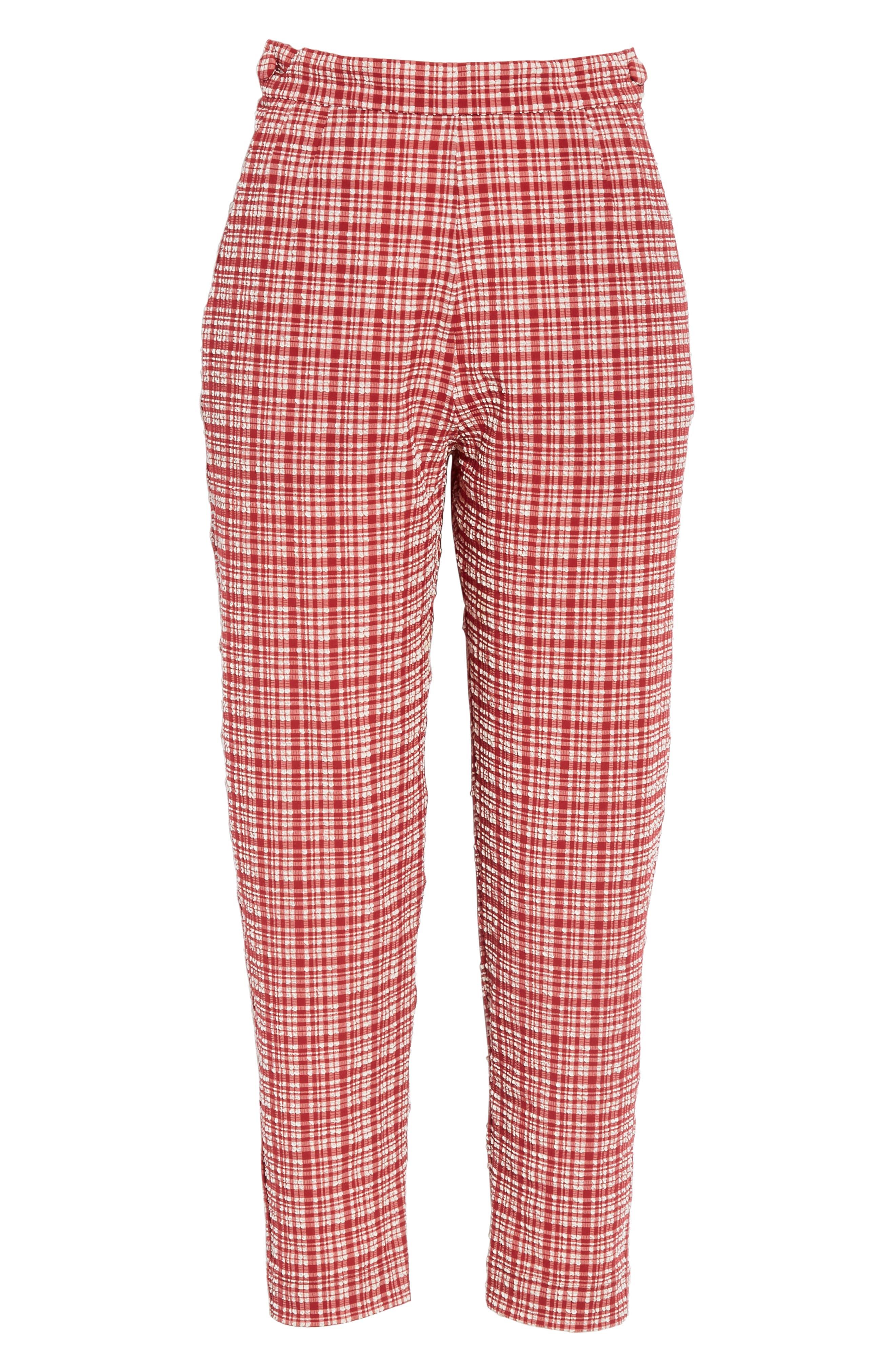 ,                             Westside Seersucker Crop Pants,                             Alternate thumbnail 6, color,                             CRIMSON