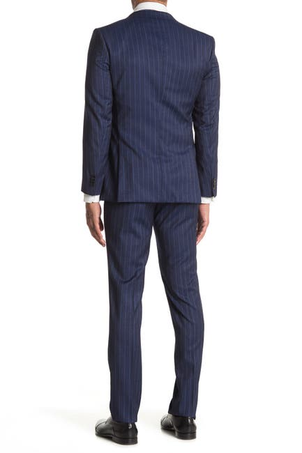 Image of BOSS Huge Genius Dark Blue Stripe Print Two Button Notch Lapel Wool Trim Fit Suit