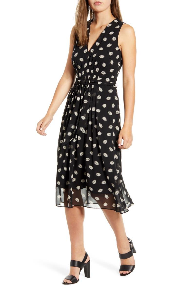 ANNE KLEIN Poet's Leaf Georgette Midi Dress, Main, color, ANNE BLACK/ OYSTER SHELL