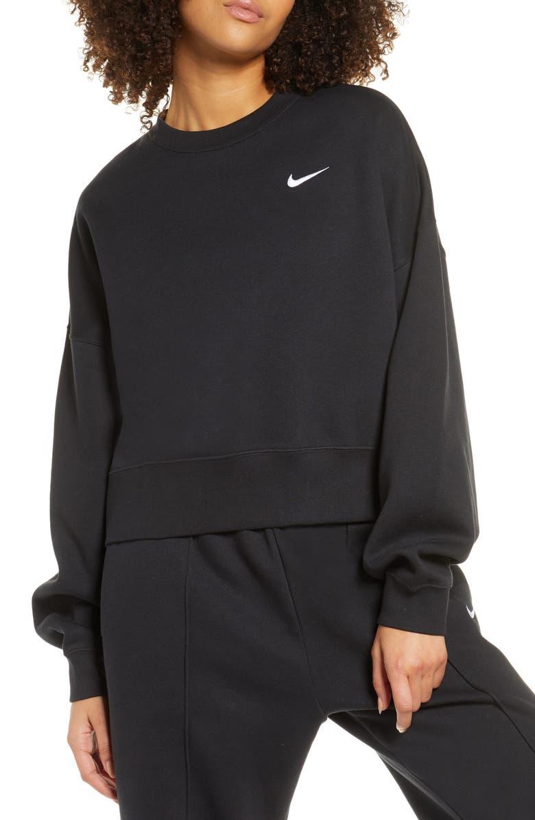 NIKE Sportswear Crewneck Sweatshirt, Main, color, BLACK/ WHITE