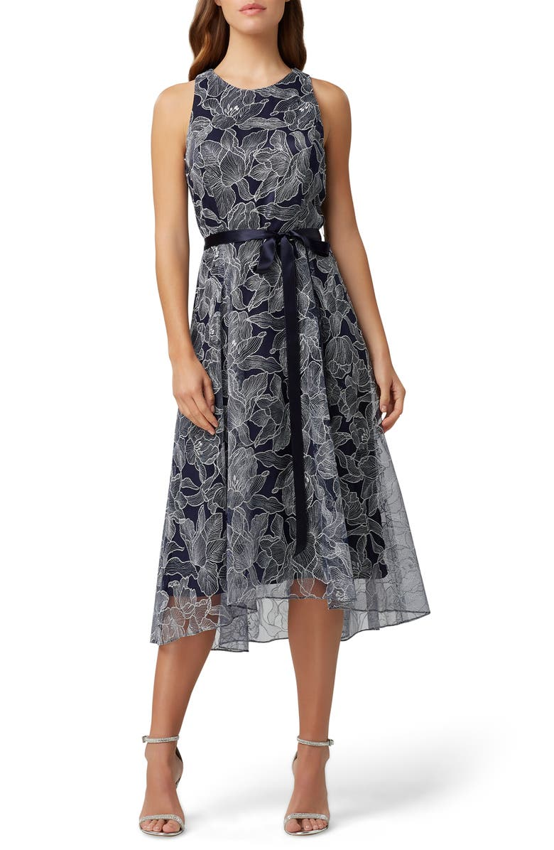 TAHARI Sleeveless Metallic High/Low Dress, Main, color, NAVY SILVER FLORAL
