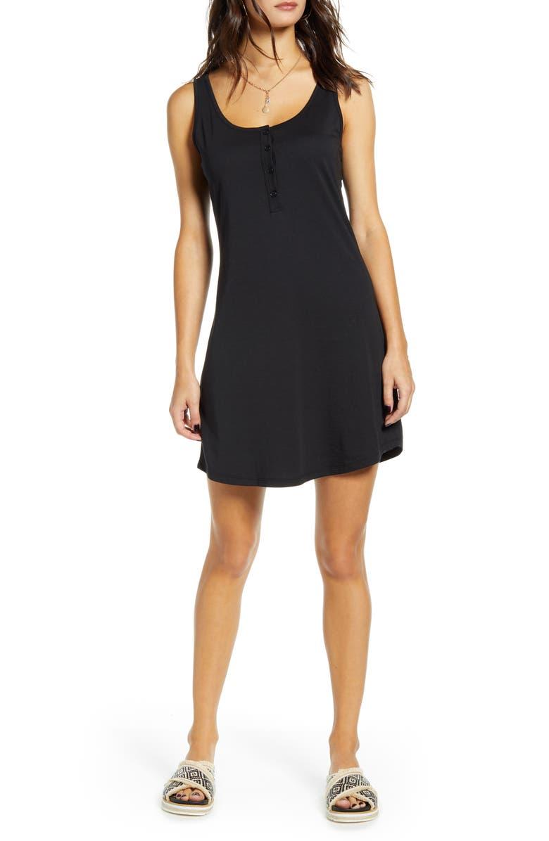 SOCIALITE Henley Tank Dress, Main, color, BLACK
