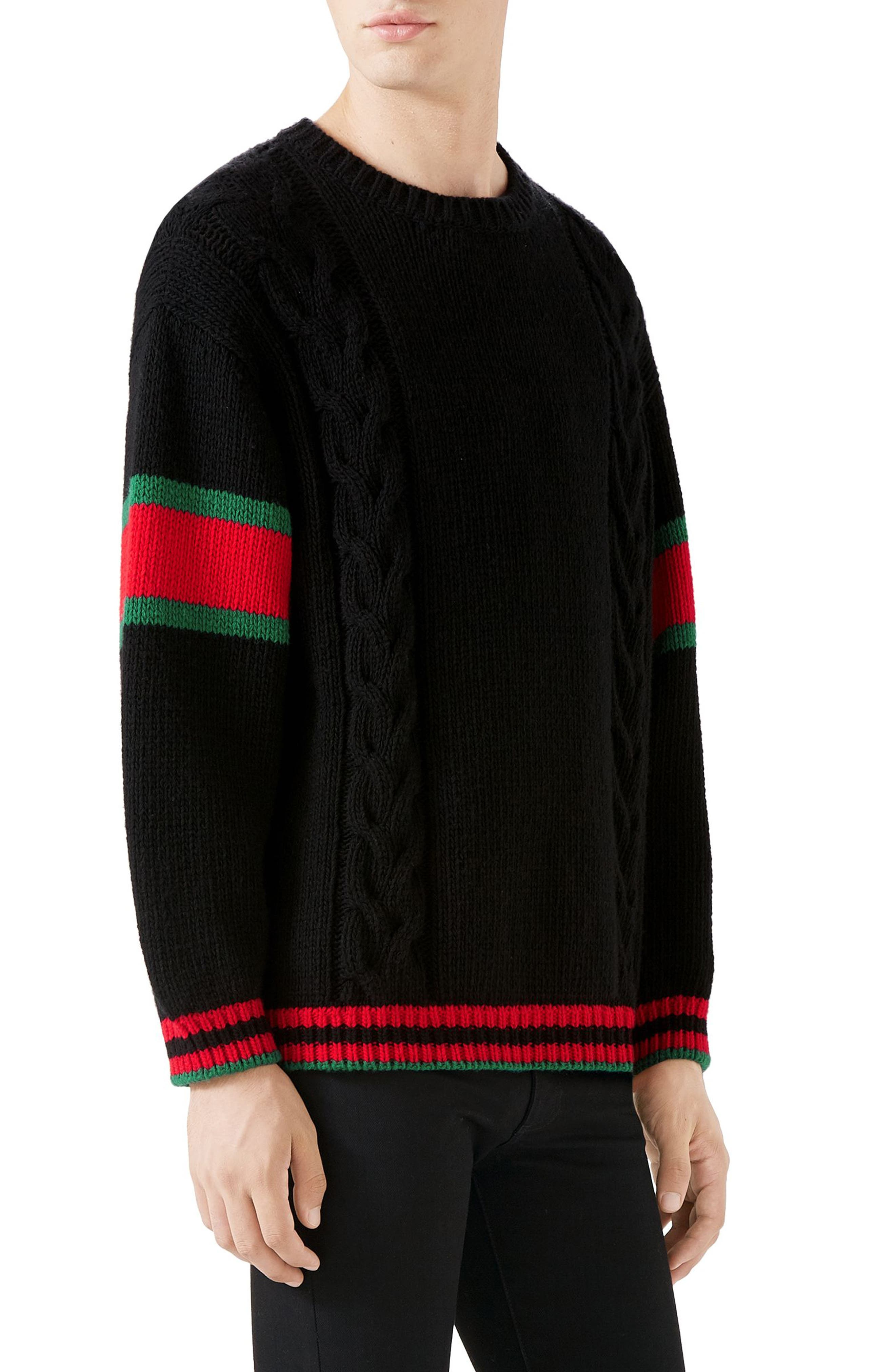 ,                             Cable Knit Wool Crewneck Sweater,                             Alternate thumbnail 3, color,                             BLACK MULTI