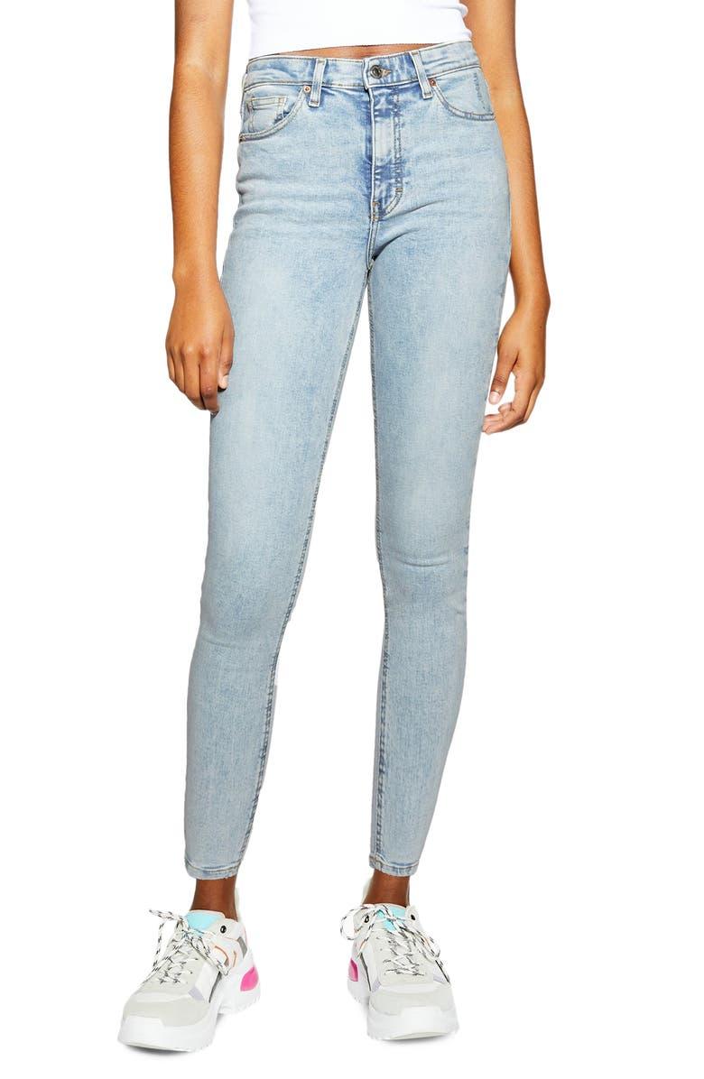 TOPSHOP Jamie High Waist Jeans, Main, color, LIGHT BLUE BLEACH