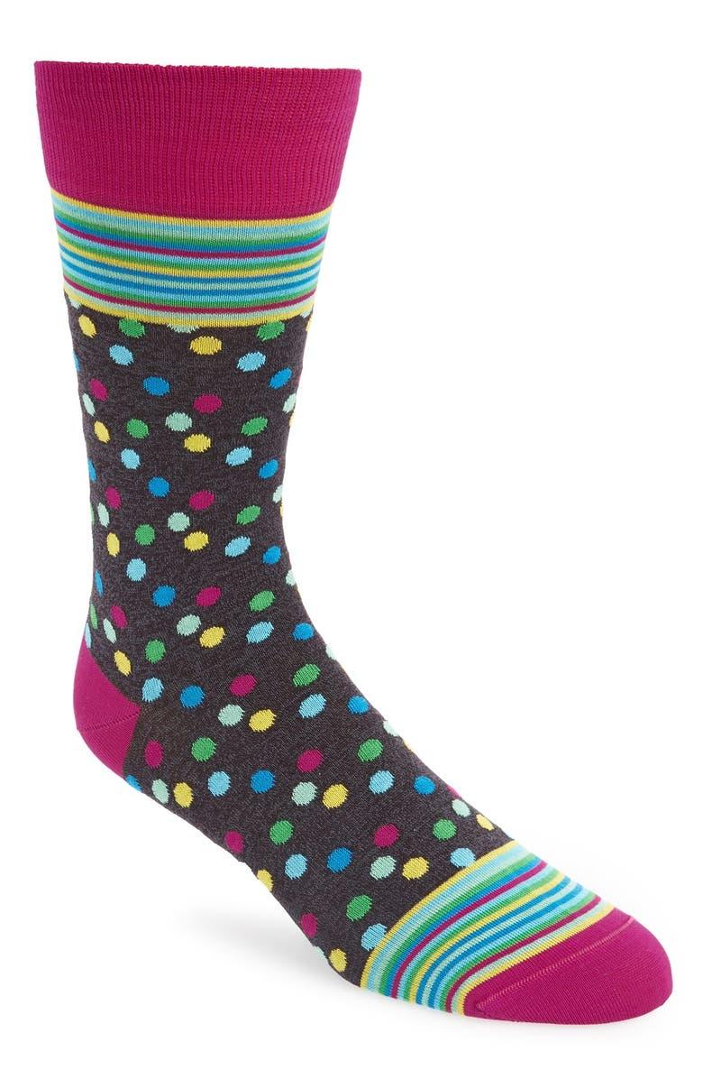 BUGATCHI Multi-Pattern Cotton Blend Socks, Main, color, 001