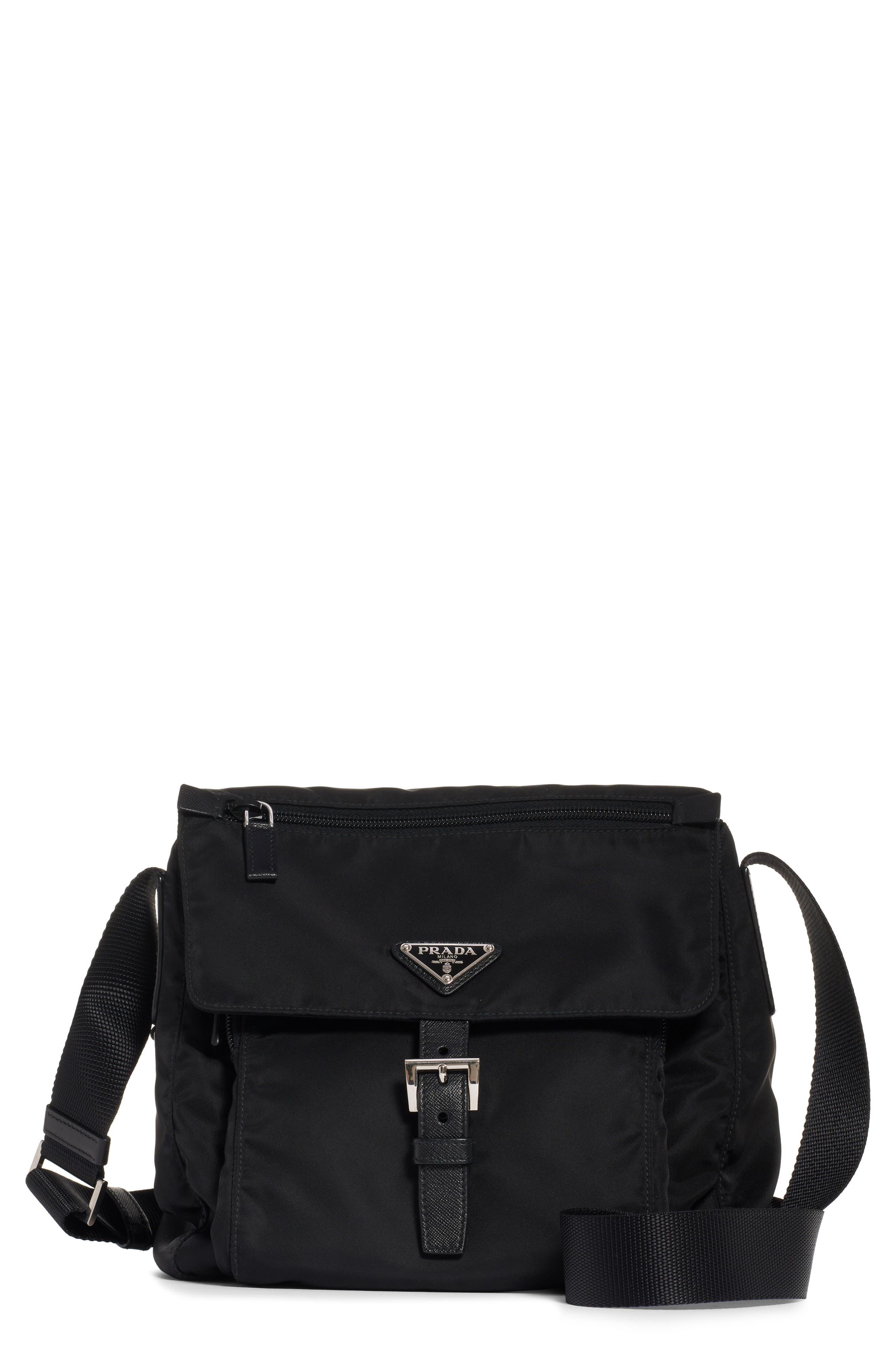 Vela Nylon Messenger Bag, Main, color, NERO