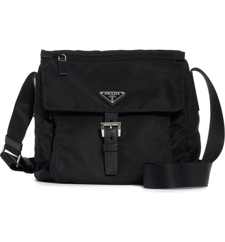 PRADA Vela Nylon Messenger Bag, Main, color, NERO