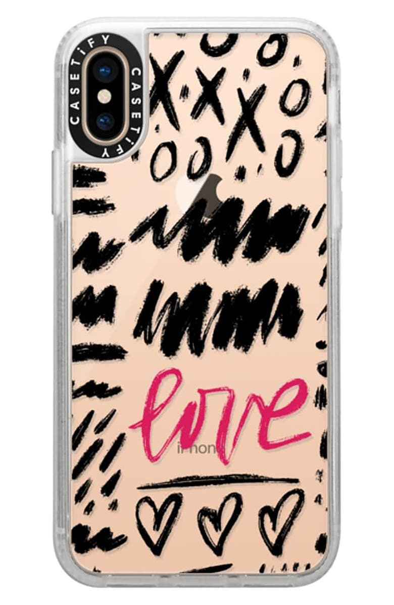 CASETIFY Love Scribbles iPhone X/Xs/XS Max & XR Case, Main, color, BLACK / PINK