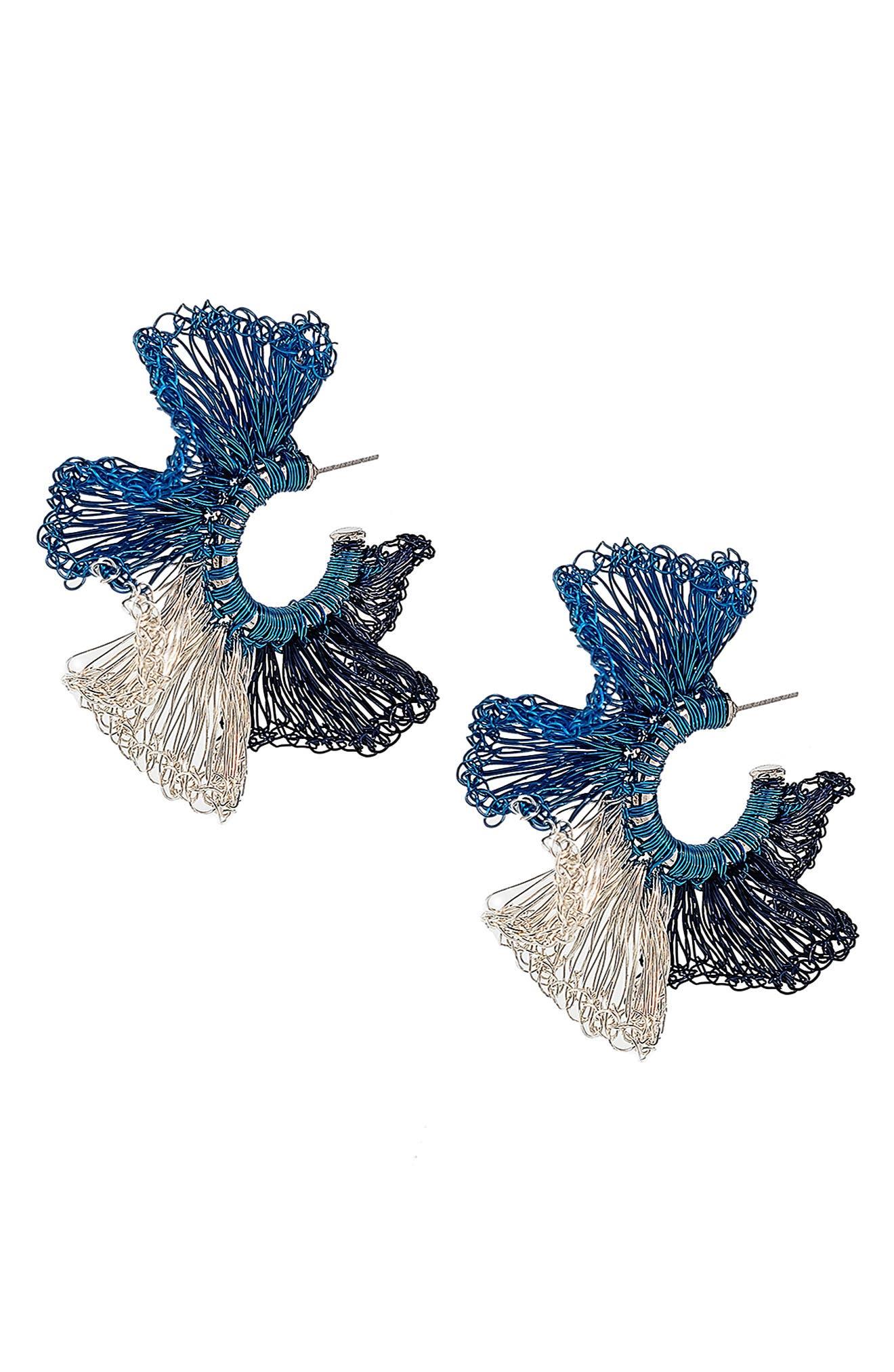 Women's Lavish Blue Ruffle Crochet Hoop Earrings