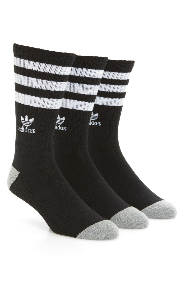 ADIDAS ORIGINALS 3-Pack Original Roller Crew Socks, Main, color, BLACK/ WHITE