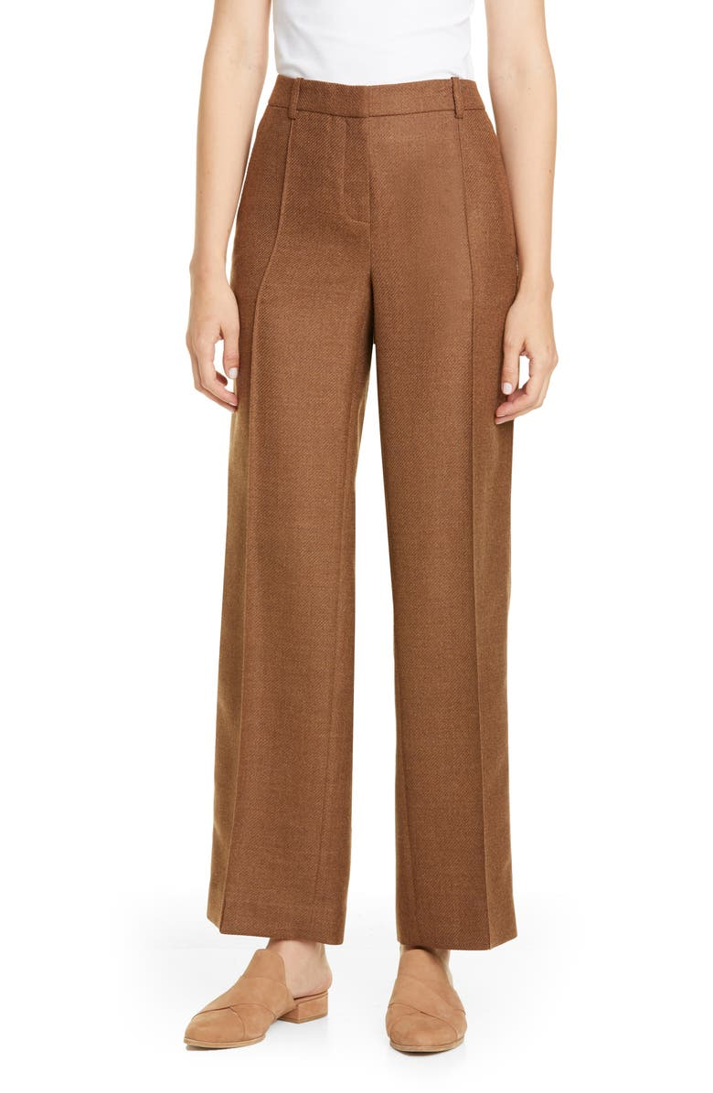 LAFAYETTE 148 NEW YORK Winthrop Wide Leg Pants, Main, color, MOLASSES MELANGE