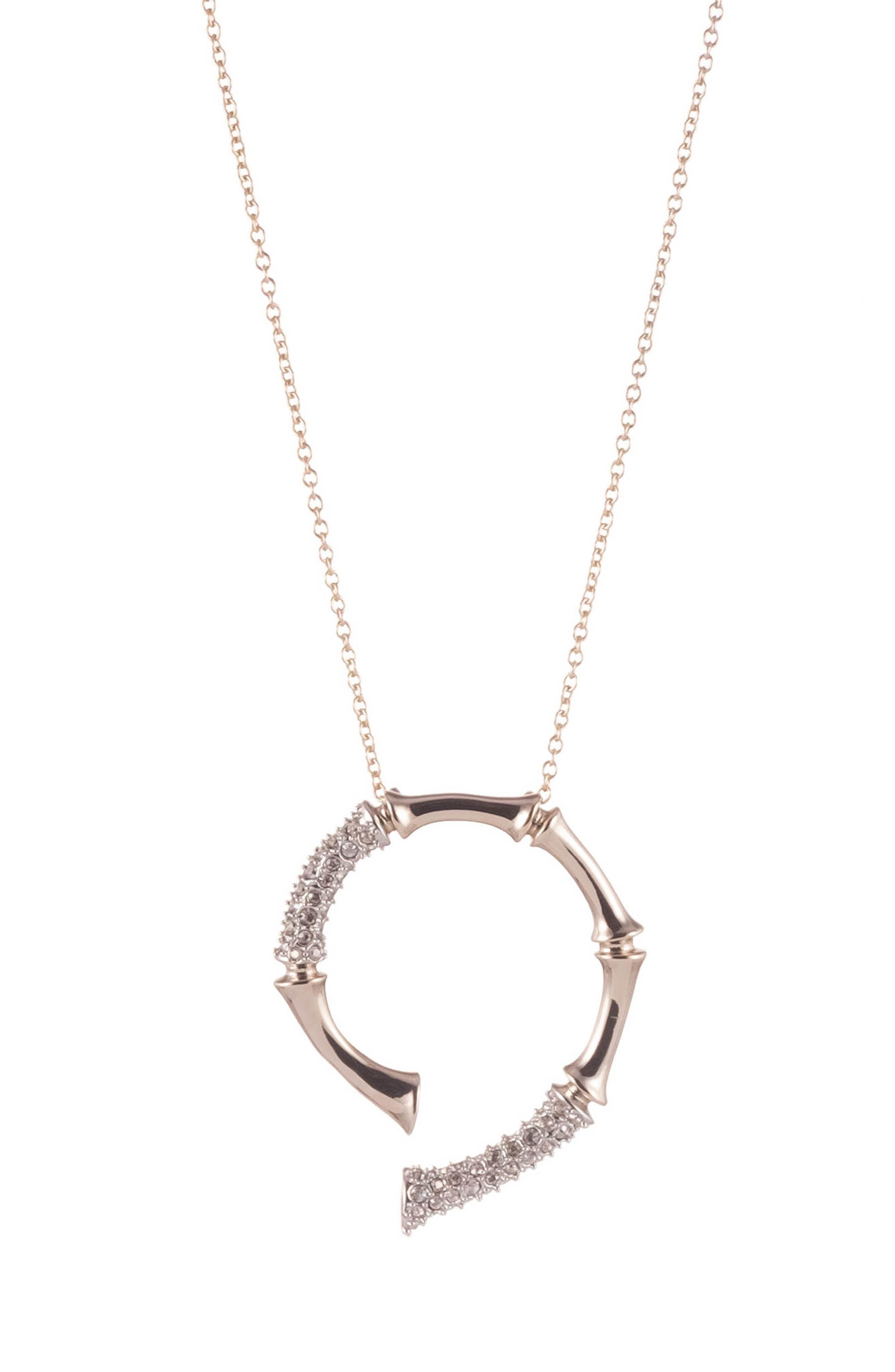 Image of Alexis Bittar Crystal Encrusted Bamboo Spiral Pendant Necklace