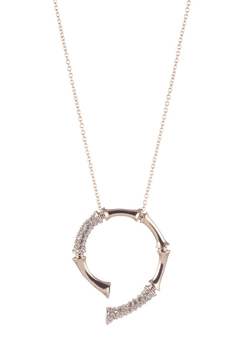 ALEXIS BITTAR Crystal Encrusted Bamboo Carved Horseshoe Pendant Necklace, Main, color, TWO TONE
