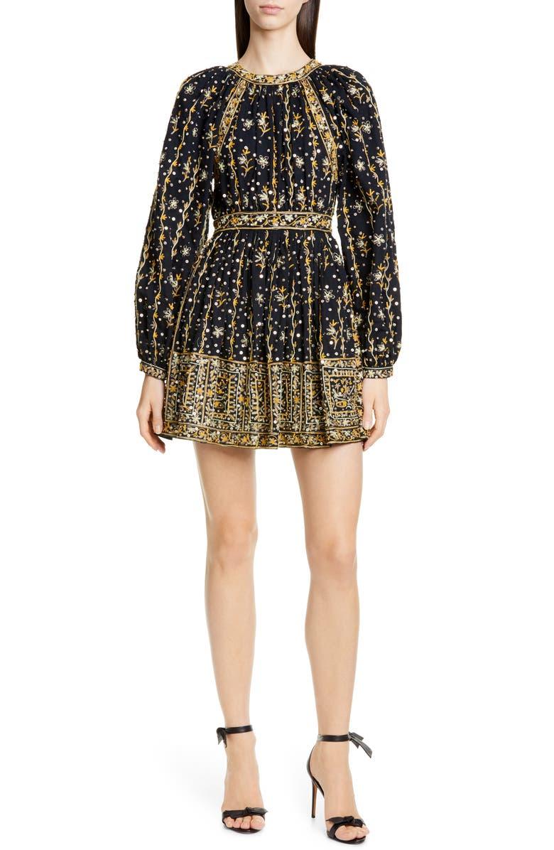 ULLA JOHNSON Daya Embellished Minidress, Main, color, NOIR