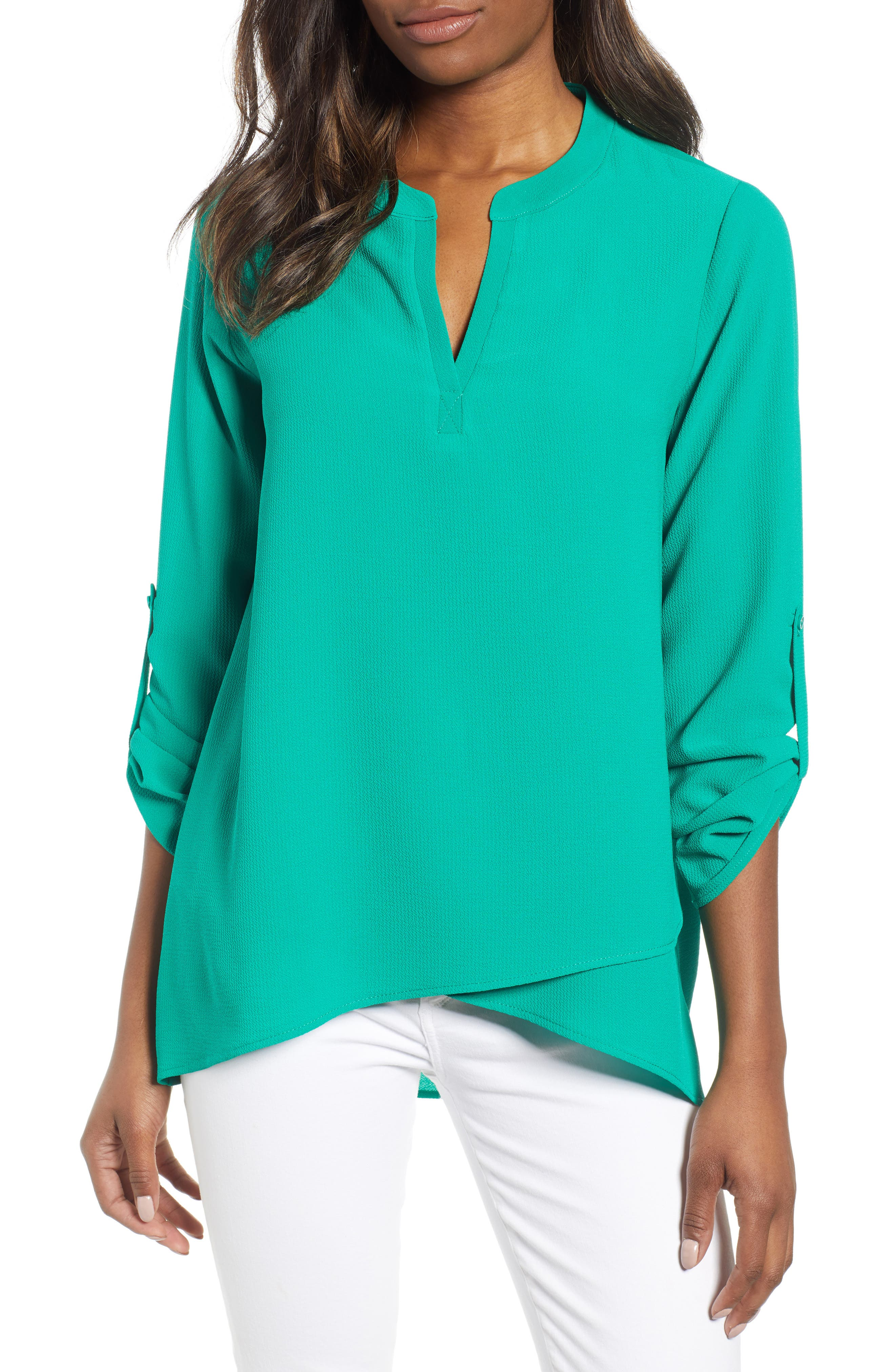 ,                             x International Women's Day Erin Cross Front Tunic Blouse,                             Main thumbnail 27, color,                             300