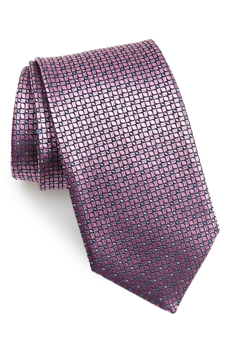 CANALI Neat Silk Tie, Main, color, PINK