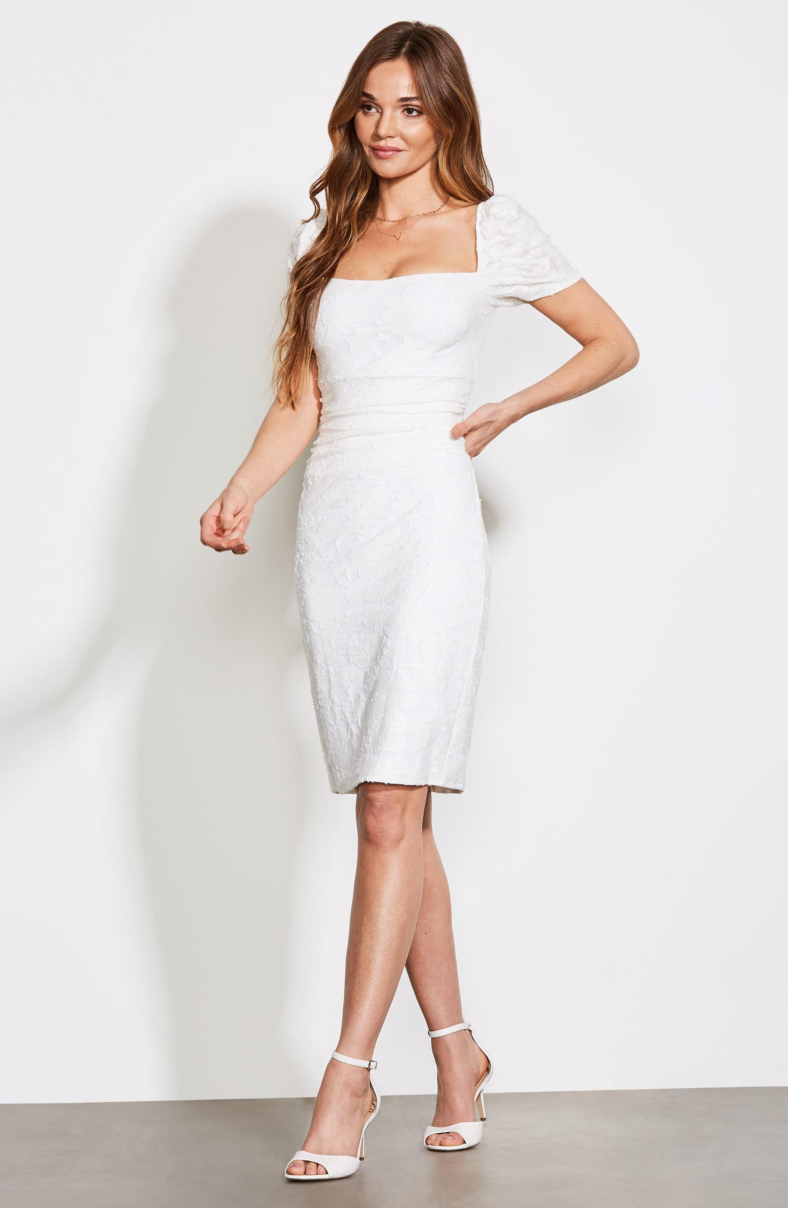 ,                             Big Mistake Short Sleeve Sheath Dress,                             Alternate thumbnail 8, color,                             WHITE FLORAL