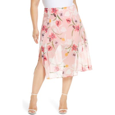 Plus Size Leith Floral Chiffon Skirt, Pink