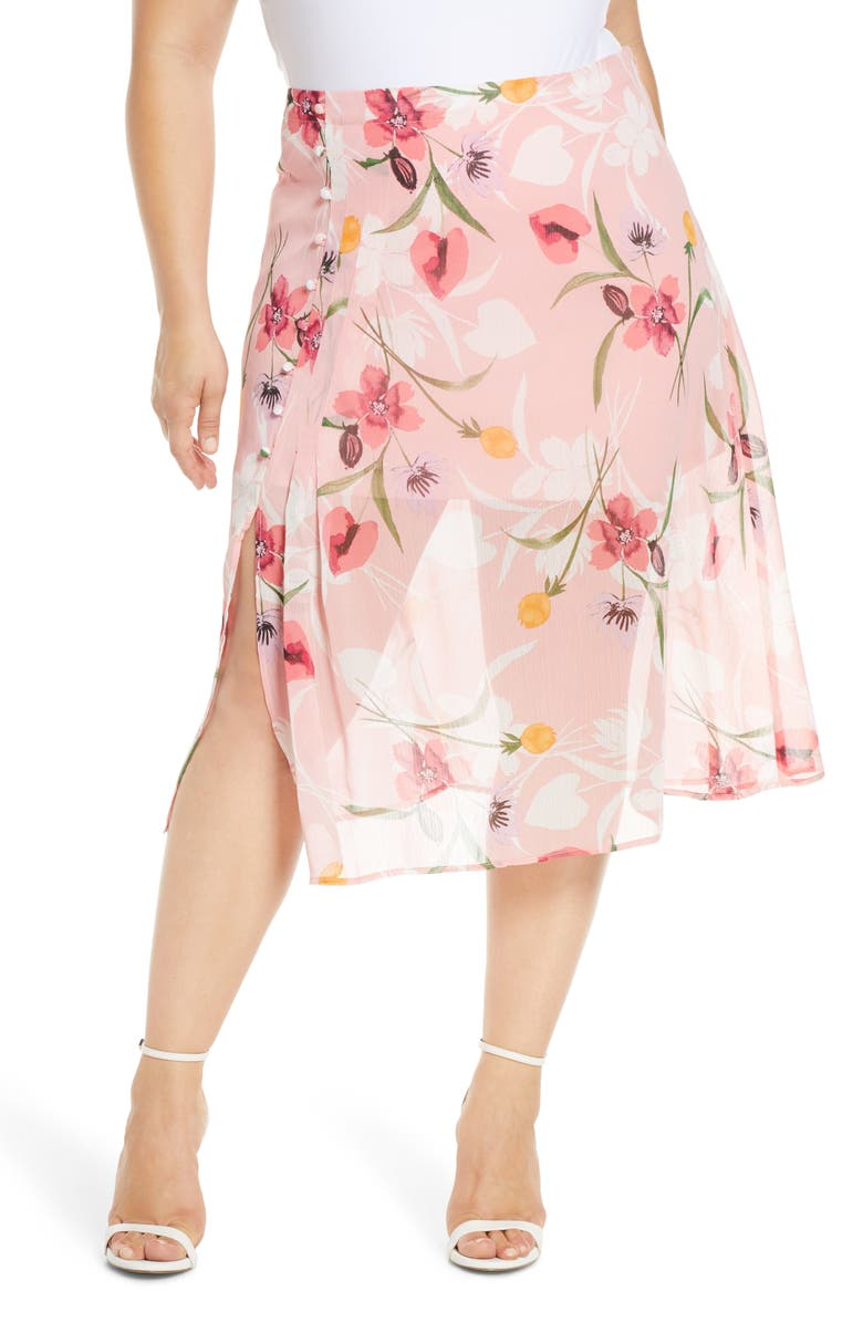 LEITH Floral Chiffon Skirt, Main, color, PINK SPARKLE FLORAL