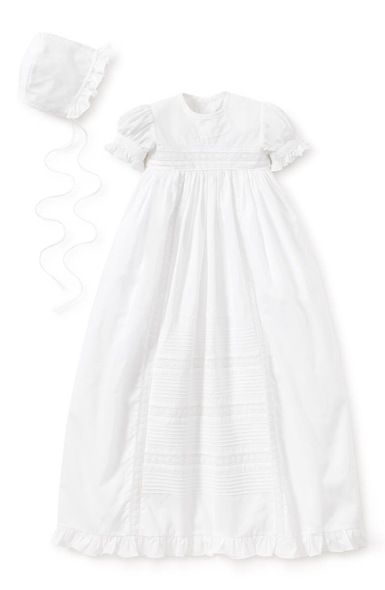 KISSY KISSY Nicole Christening Gown & Bonnet Set, Main, color, WHITE