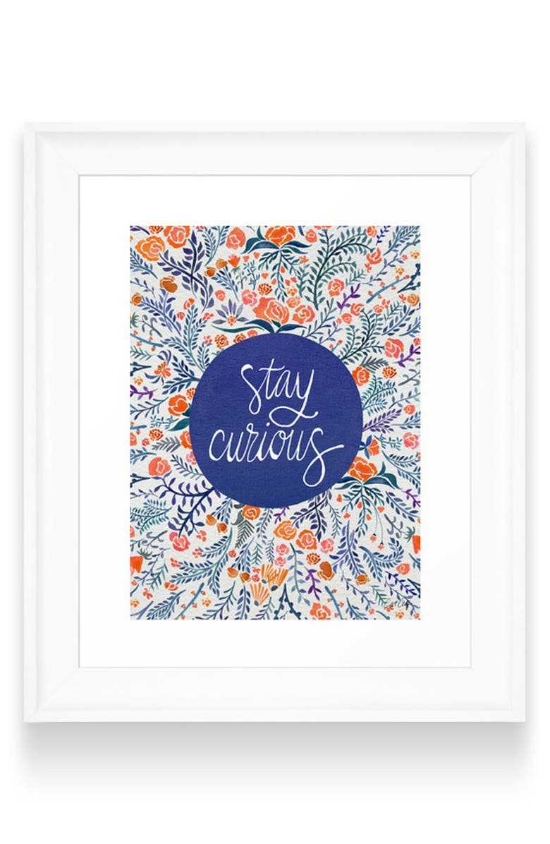 DENY DESIGNS Stay Curious Art Print, Main, color, WHITE FRAME- 8X10