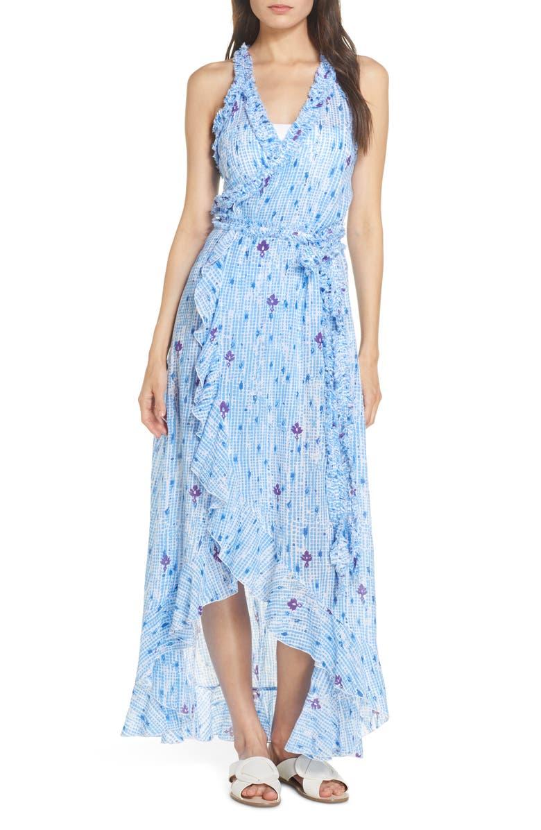 POUPETTE ST BARTH Cover-Up Wrap Dress, Main, color, LIGHT BLUE FANCIFUL