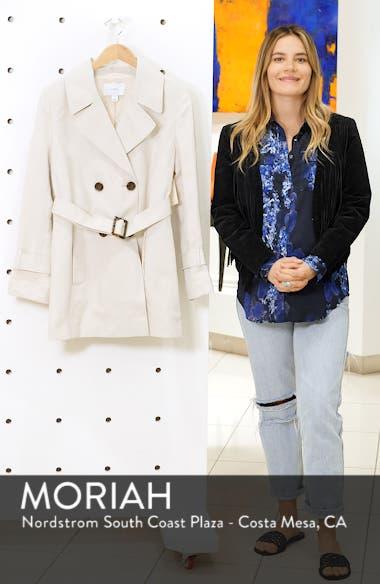 Polka Dot Back Linen & Silk Belted Trench Coat, sales video thumbnail