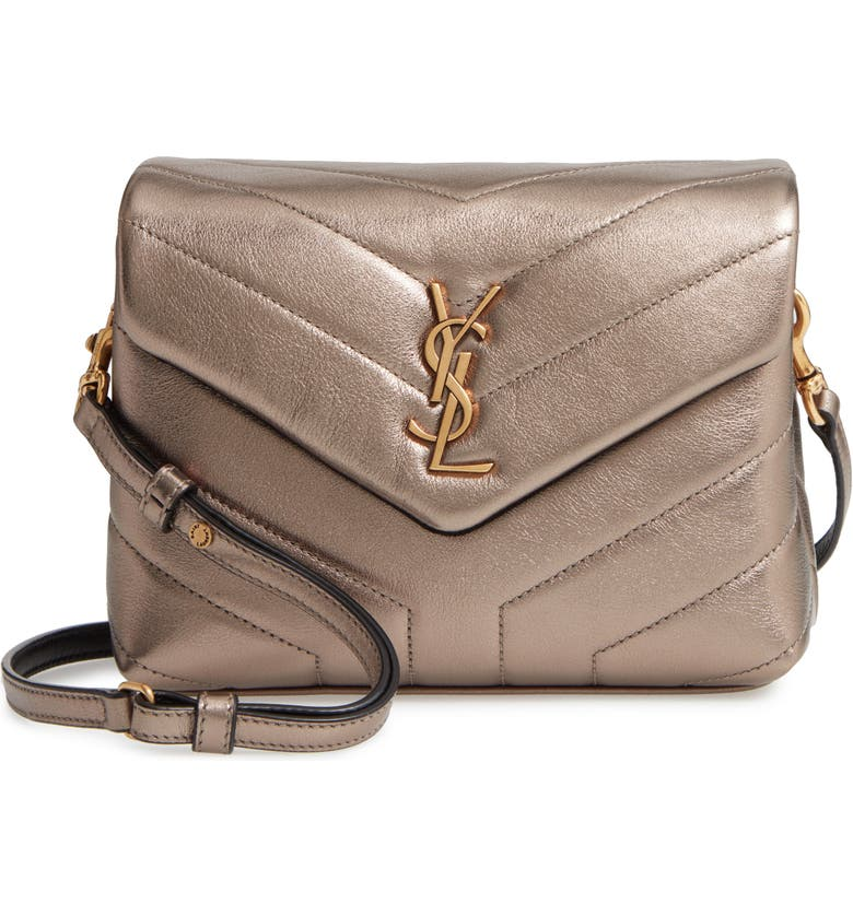 SAINT LAURENT Toy Loulou Matelassé Leather Crossbody Bag, Main, color, BRUN METALASSE