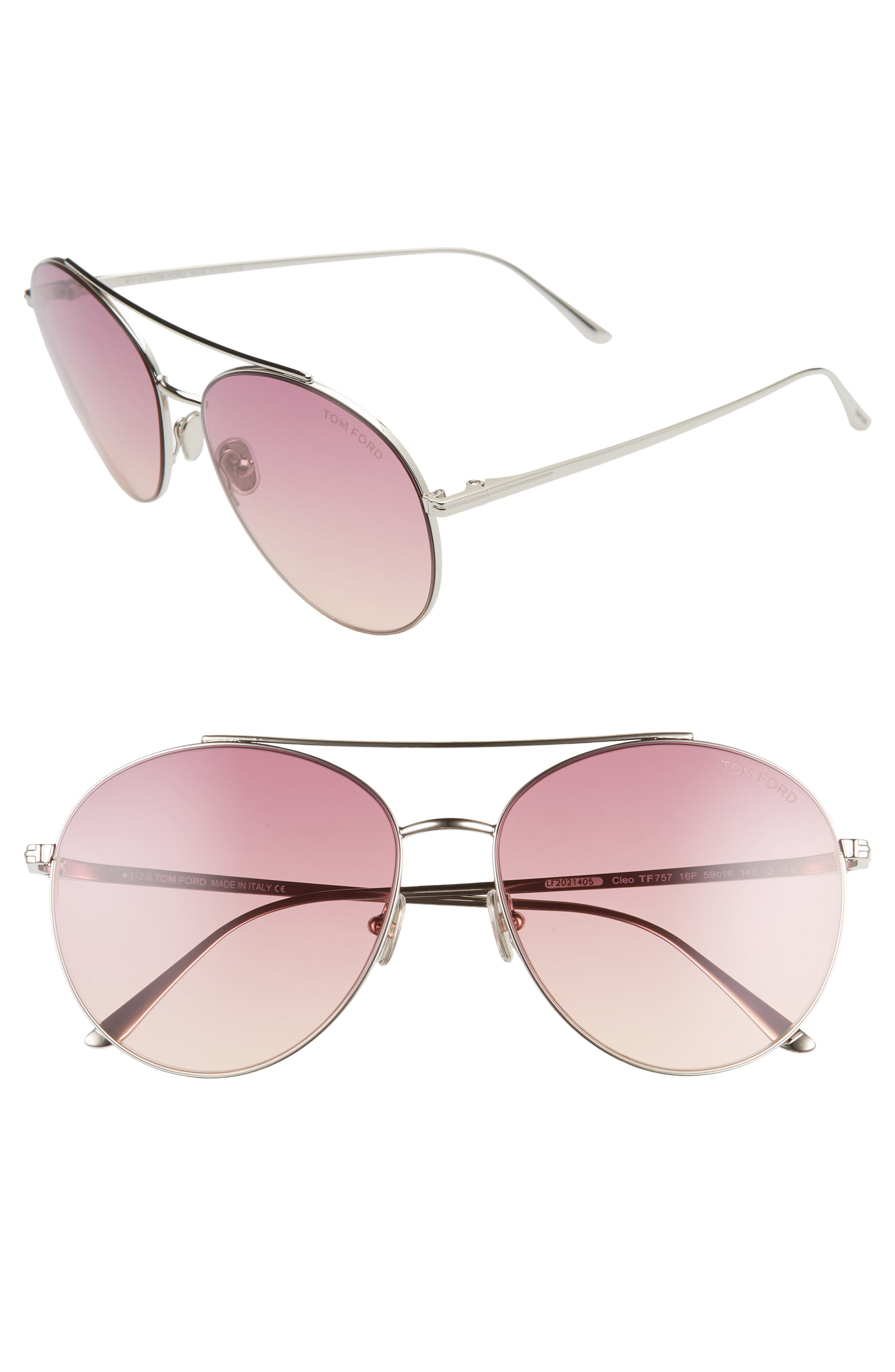 Image of Tom Ford Cleo 59mm Aviator Sunglasses