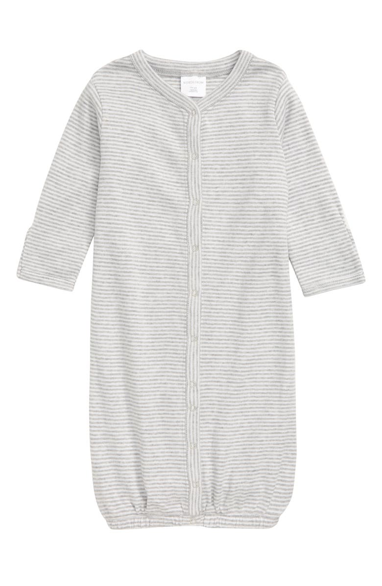 NORDSTROM BABY Convertible Gown, Main, color, GREY ASH HEATHER STRIPE