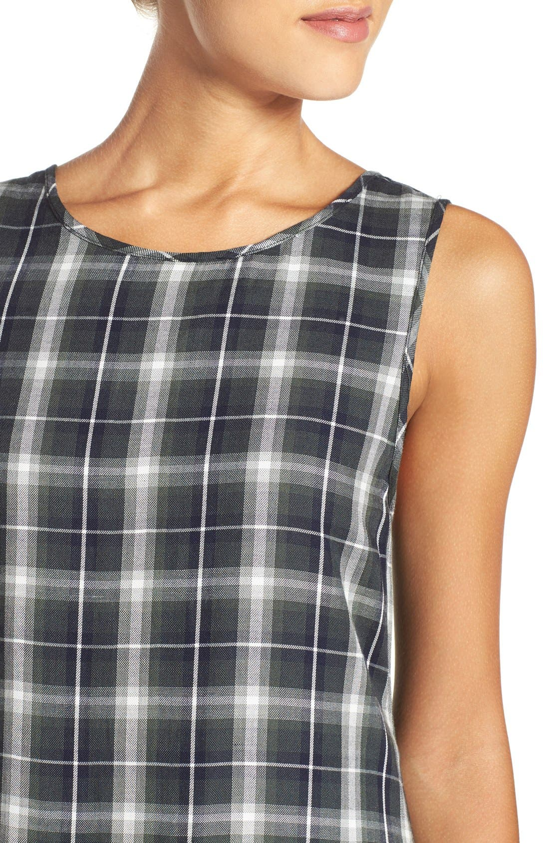 ,                             'Reyes' Plaid Drop Waist Dress,                             Alternate thumbnail 4, color,                             260