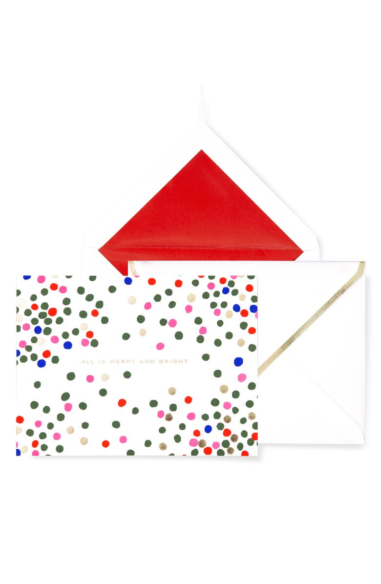 KATE SPADE NEW YORK holiday dots set of 10 holiday boxed cards, Main, color, MULTI