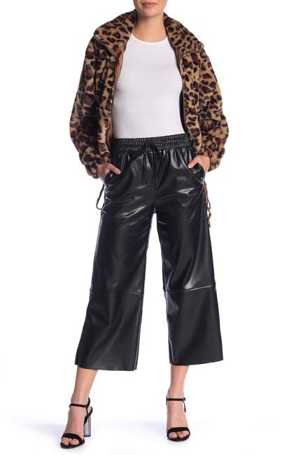 Image of Know One Cares Faux Leather Culotte Pants