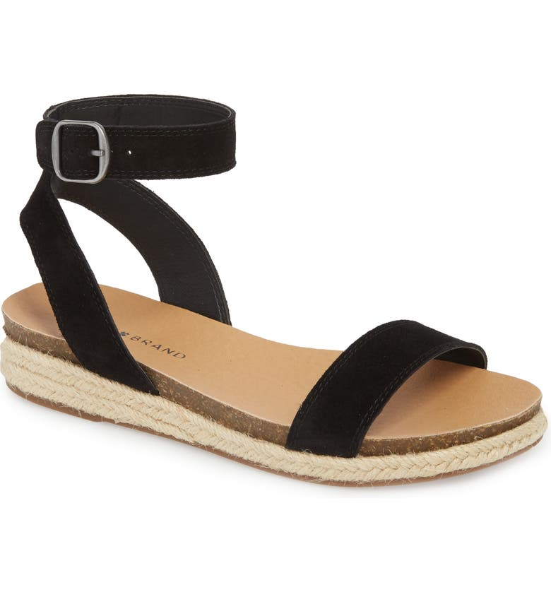 LUCKY BRAND Garston Espadrille Sandal, Main, color, BLACK SUEDE