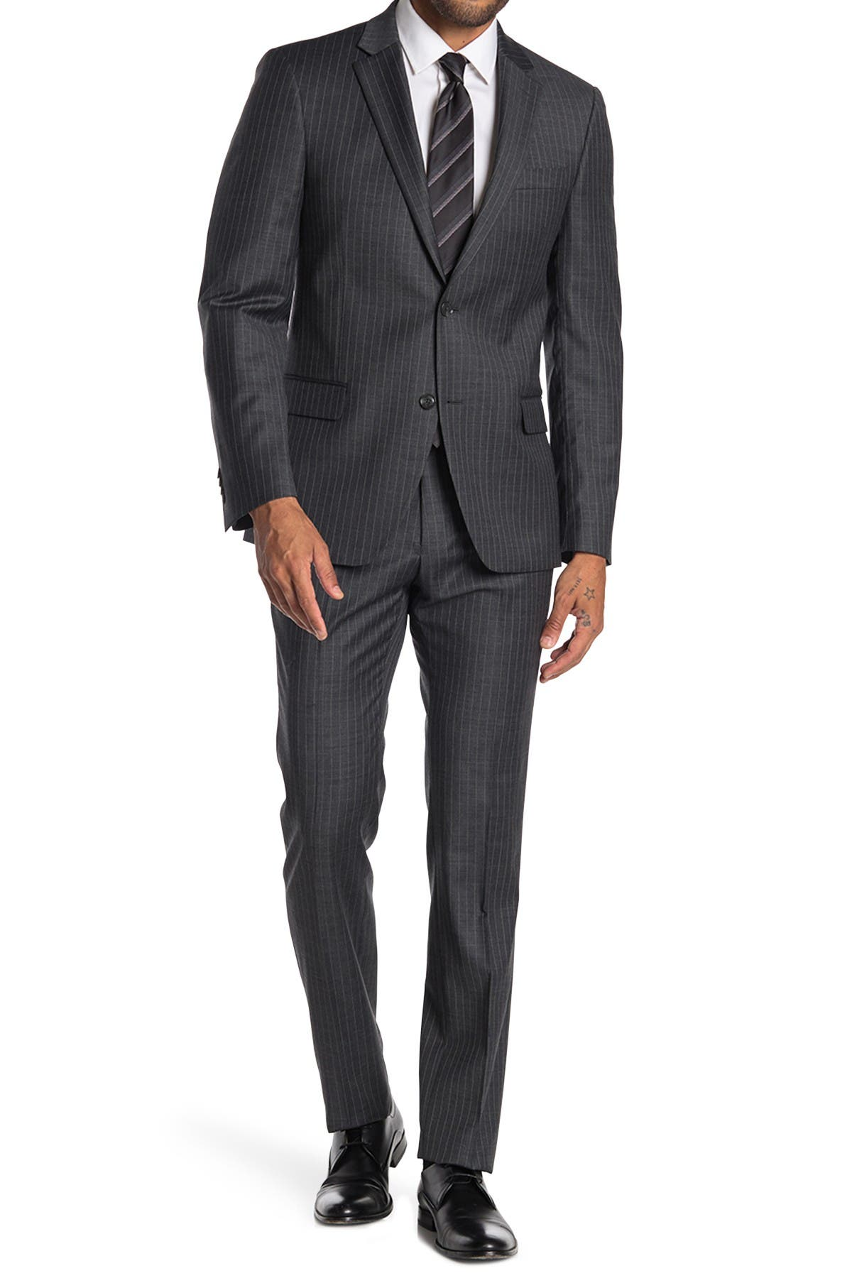 Image of Tommy Hilfiger Stripe Two Button Notch Lapel Wool Blend Suit