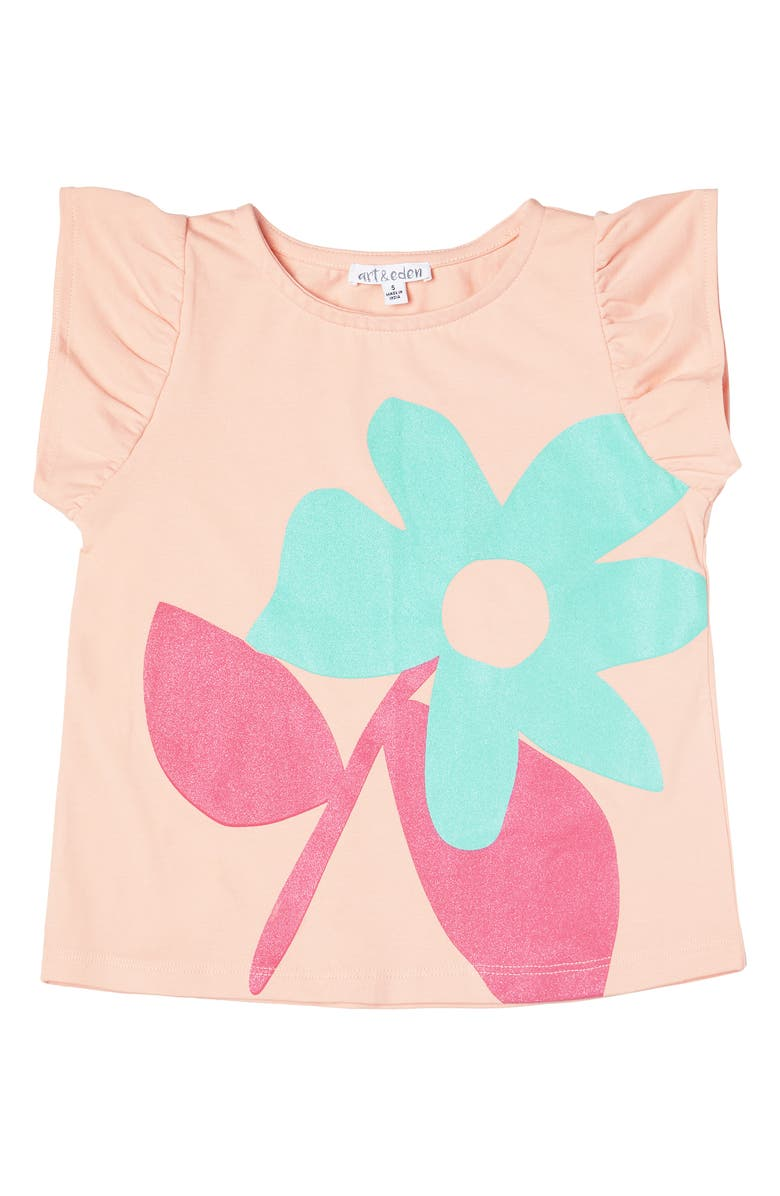 ART & EDEN Zaria Ruffle Sleeve Graphic Tee, Main, color, 834