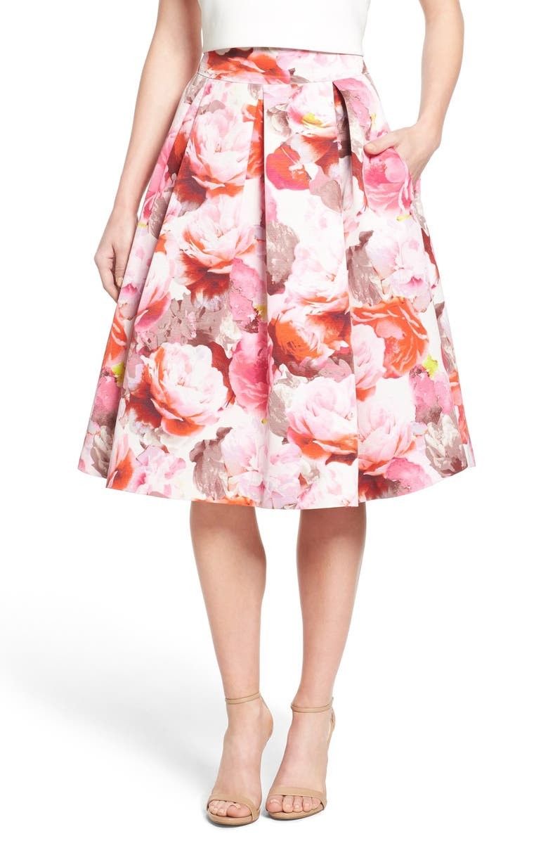 ELIZA J Floral Print Pleated Midi Skirt, Main, color, 660