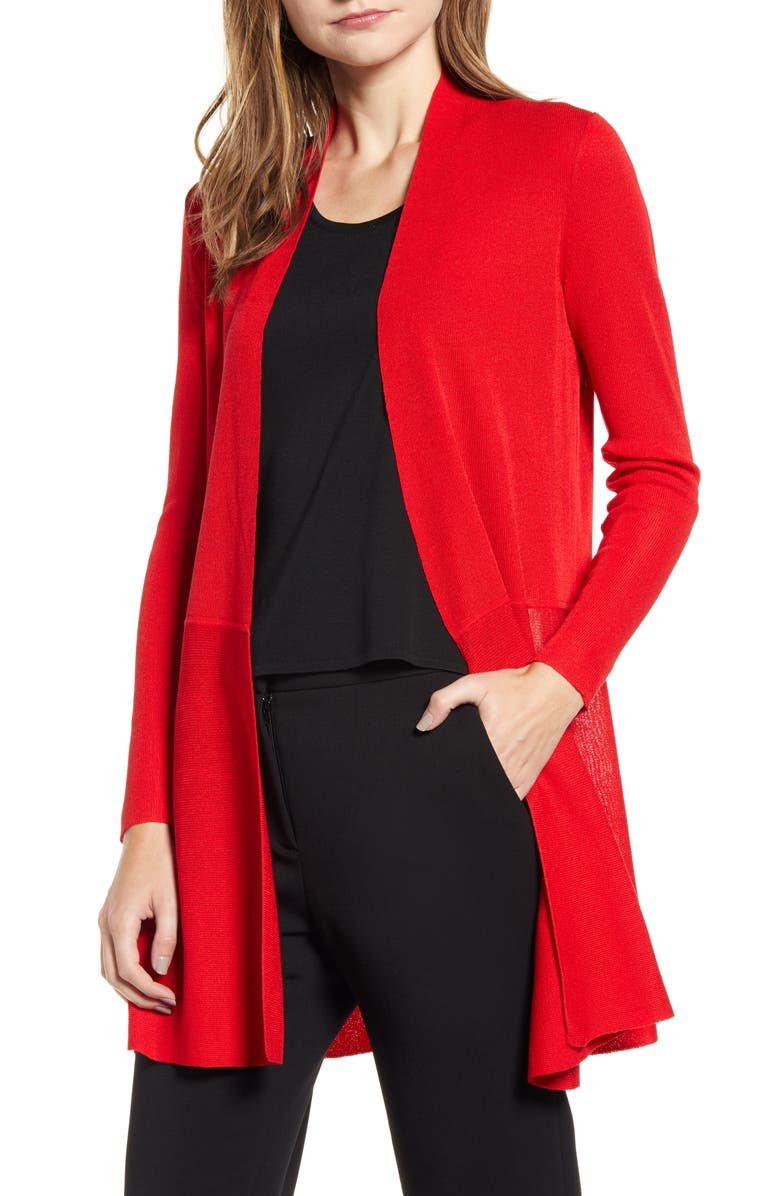 ANNE KLEIN Longline Cardigan, Main, color, PINOT