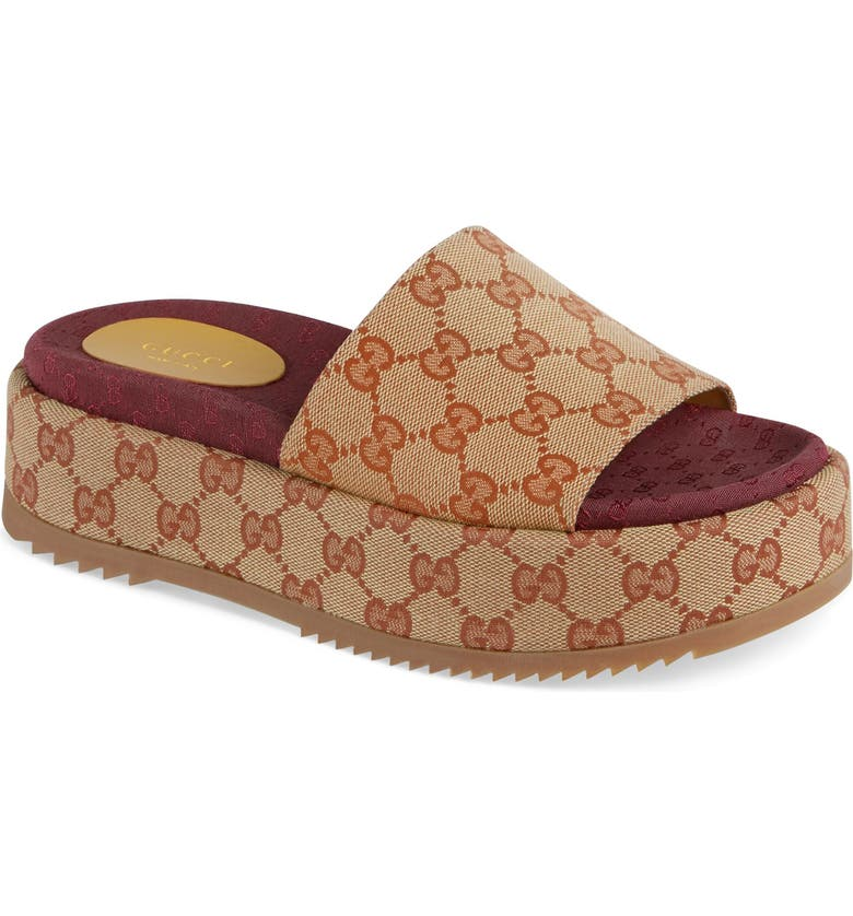 GUCCI Angelina GG Supreme Platform Slide Sandal, Main, color, BEIGE
